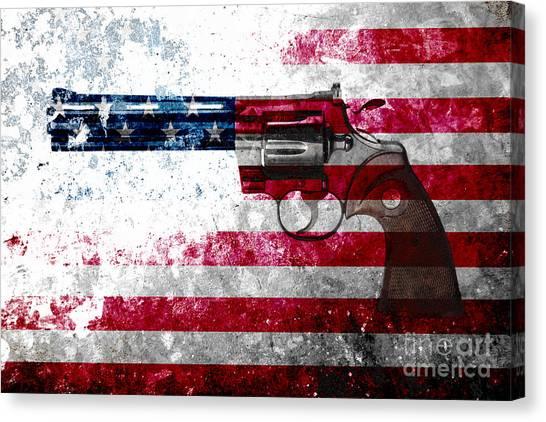 Colt Python 357 Mag On American Flag Canvas Print