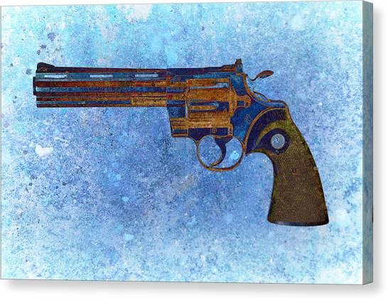 Colt Python 357 Mag On Blue Background. Canvas Print