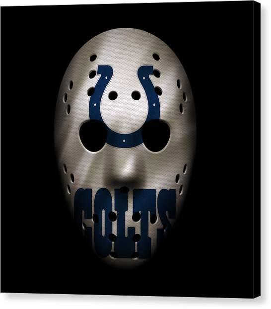 Indianapolis Colts Canvas Print - Colts War Mask 2 by Joe Hamilton
