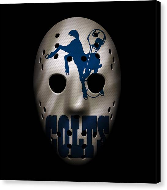 Indianapolis Colts Canvas Print - Colts War Mask 3 by Joe Hamilton