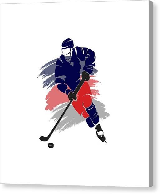 Columbus Blue Jackets Canvas Print - Colubus Blue Jackets Player Shirt by Joe Hamilton