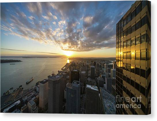 The Nature Center Canvas Print - Columbia Center Sunset Skies Above Seattle by Mike Reid