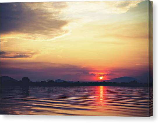 Sunset Horizon Canvas Print - Columbia River Sunset by Debi Bishop