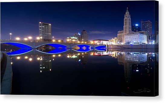 Columbus Oh Blue Bridge Reflections Canvas Print by Shane Psaltis