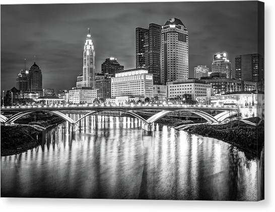 Canvas Print featuring the photograph Columbus Ohio Downtown Skyline In Black And White by Gregory Ballos