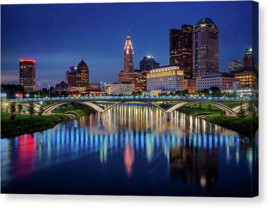 Ohio State University Canvas Print - Columbus Ohio Skyline At Night by Adam Romanowicz