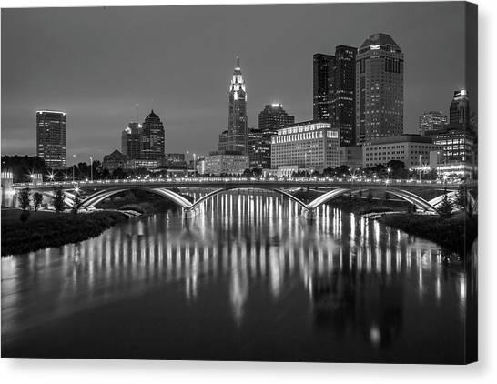 Ohio State University Canvas Print - Columbus Ohio Skyline At Night Black And White by Adam Romanowicz