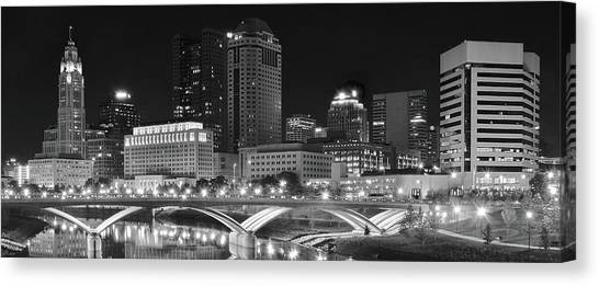 Cleveland State University Canvas Print - Columbus Panoramic Black And White Night by Frozen in Time Fine Art Photography