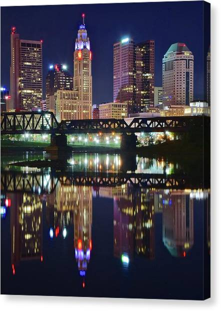 Ohio University Canvas Print - Columbus Standing Tall by Frozen in Time Fine Art Photography