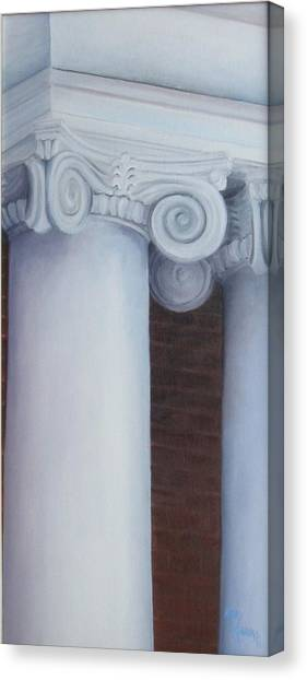 Columns Of Davidson Hall Canvas Print by Mary Rogers