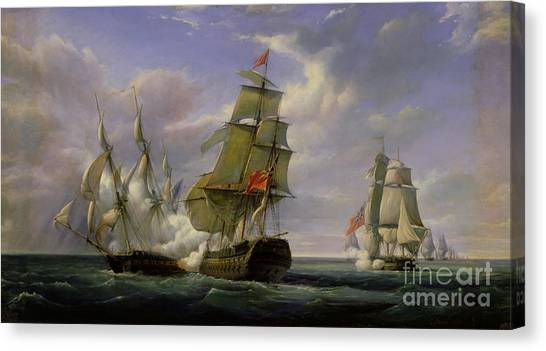 Engagement Canvas Print - Combat Between The French Frigate La Canonniere And The English Vessel The Tremendous by Pierre Julien Gilbert