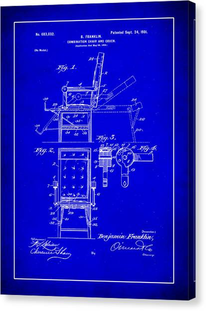 Ben Franklin Canvas Print - Combination Chair And Couch Patent Drawing 1c by Brian Reaves