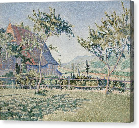 Divisionism Canvas Print - Comblat-le-chateau, The Meadow by Paul Signac