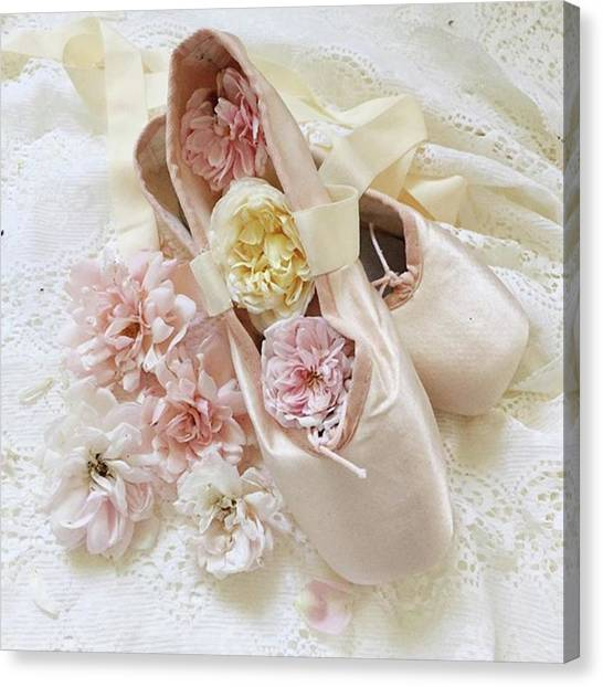 Ballet Shoes Canvas Print - Dancing With The Flowers by Rebecca Amesbury