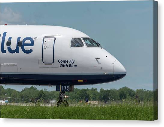 Jetblue Canvas Print - Come Fly With Blue by Guy Whiteley