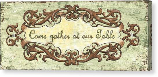 Dinner Table Canvas Print - Come Gather At Our Table by Debbie DeWitt