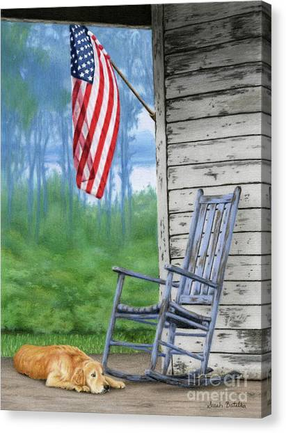 Golden Retrievers Canvas Print - Come Home by Sarah Batalka
