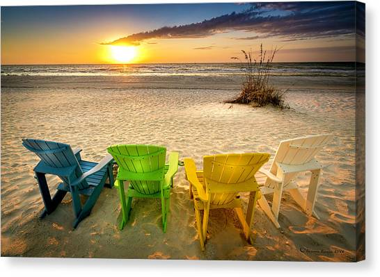 Adirondack Chair Canvas Print - Come Relax Enjoy by Marvin Spates