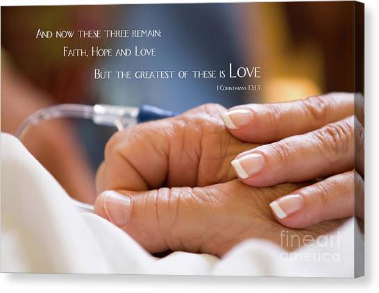 Canvas Print featuring the photograph Comforting Hand Of Love by Steven Frame