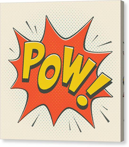 Spiders Canvas Print - Comic Pow On Off White by Mitch Frey
