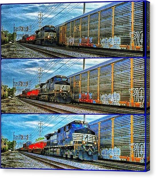 Freight Trains Canvas Print - Coming Down The Track by Nick Heap