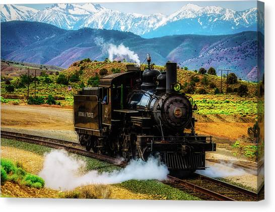 Steam Trains Canvas Print - Coming Down The Tracks by Garry Gay
