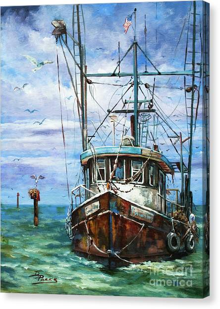 Shrimping Canvas Print - Coming Home by Dianne Parks