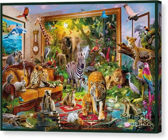 Lemurs Canvas Print - Coming To Room by Jan Patrik Krasny