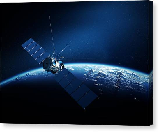 Satellite Canvas Print - Communications Satellite Orbiting Earth by Johan Swanepoel