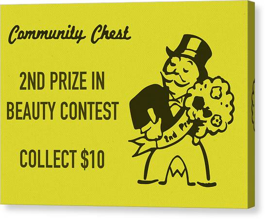 Chest Canvas Print - Community Chest Vintage Monopoly Board Game 2nd Prize In Beauty Contest by Design Turnpike