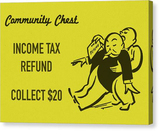 Chest Canvas Print - Community Chest Vintage Monopoly Board Game Income Tax Refund by Design Turnpike