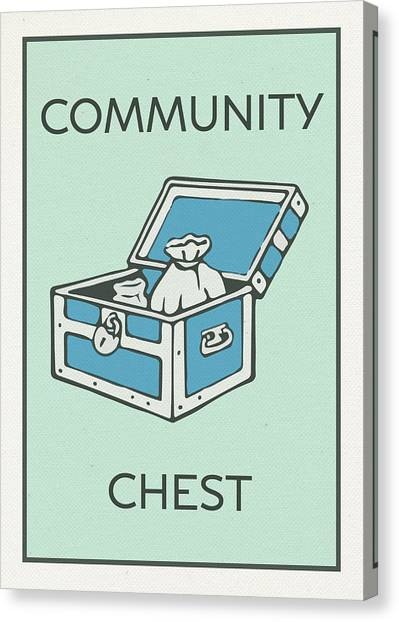 Chest Canvas Print - Community Chest Vintage Monopoly Board Game Theme Card by Design Turnpike