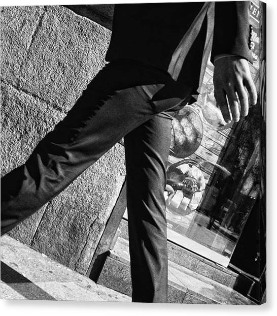 Hands Canvas Print - Commuter #man #fashion #suit #walk by Rafa Rivas