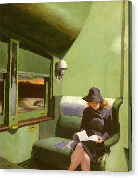 Trains Canvas Print - Compartment C by Edward Hopper