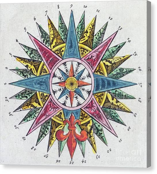 Fleur De Lis Canvas Print - Compass Rose by Dutch School