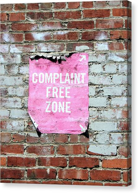Street Signs Canvas Print - Complaint Free Zone- Fine Art Photo By Linda Woods by Linda Woods