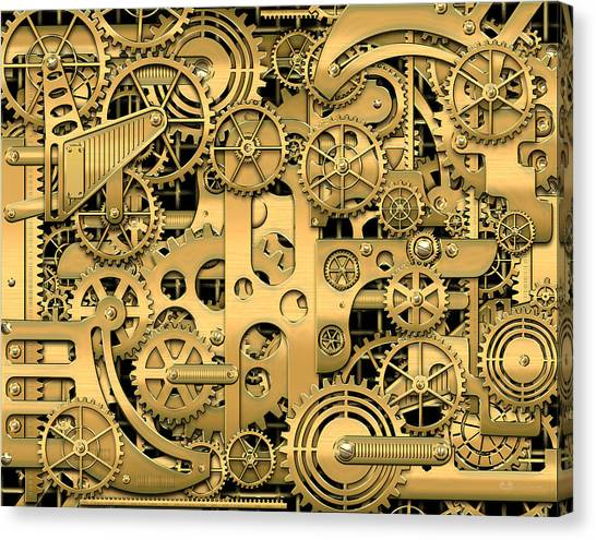 Gold Canvas Print - Complexity And Complications - Clockwork Gold by Serge Averbukh