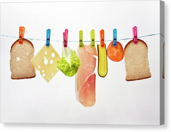 Ham Canvas Print - Components Of Sandwich Pegged To Washing Line by Image by Catherine MacBride