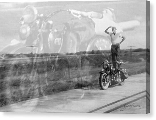 Composite Of 2 Old Harley Davidson Photographs Canvas Print