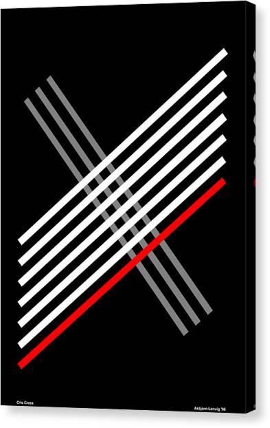 Composition Cris Cross Canvas Print by Asbjorn Lonvig