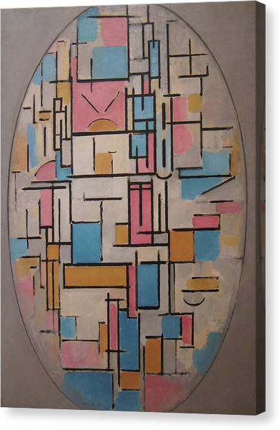 De Stijl Canvas Print - Composition In Oval With Color Planes 1 by Piet Mondrian
