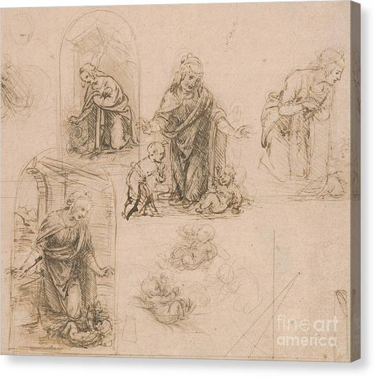 The Christ Ink Drawing Canvas Print - Compositional Sketches For The Virgin Adoring The Christ Child by Leonardo Da Vinci