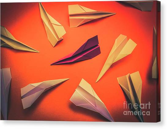 Paper Planes Canvas Print - Conceptual Photo Of Arranged Paper Planes On Bright Background by Jorgo Photography - Wall Art Gallery