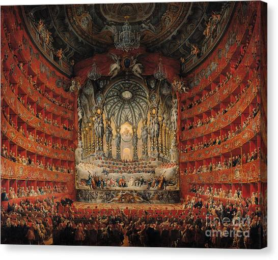67 Canvas Print - Concert Given By Cardinal De La Rochefoucauld At The Argentina Theatre In Rome by Giovanni Paolo Pannini or Panini