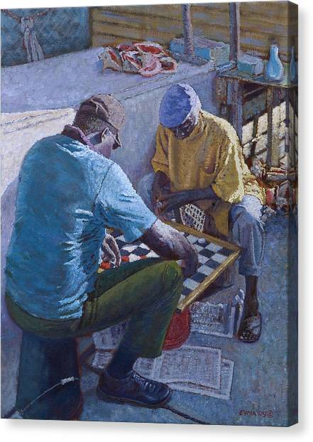 Conch Stand Checker Mates Canvas Print