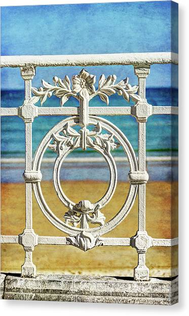 Concha Bay Railing In San Sebastian Canvas Print