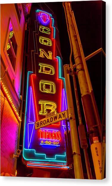 Condors Canvas Print - Condor Neon On Broadway by Garry Gay