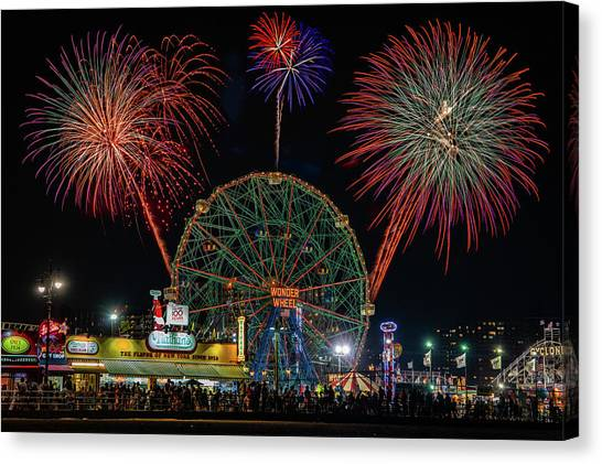 Coney Island At Night Fantasy Canvas Print