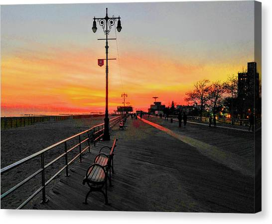 Coney Island Boardwalk Sunset Canvas Print
