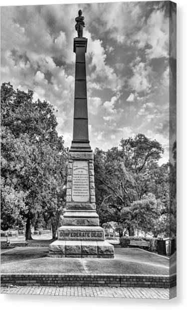 Confederate Dead Memorial Black And White Canvas Print by JC Findley